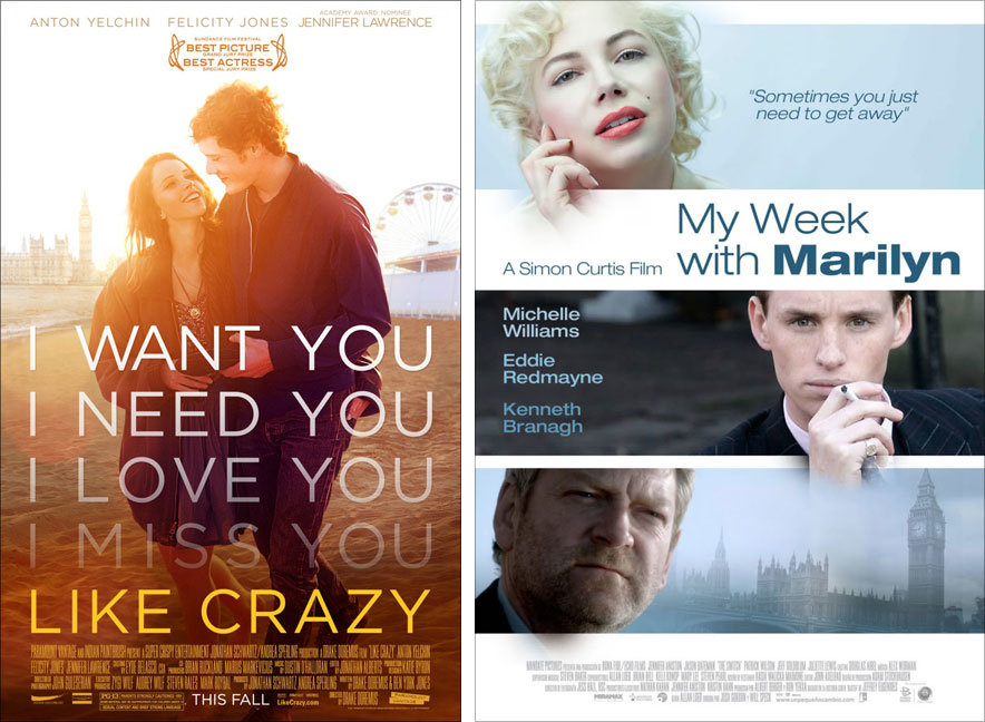 Like Crazy and My Week with Marilyn posters