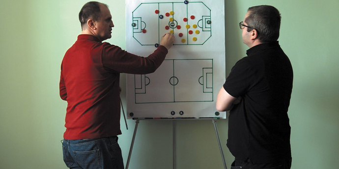 "image of the Review: Revolutionary Goals—Corneliu Porumboiu's ""Infinite Football"""
